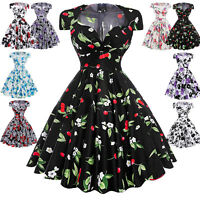 Vintage Women's Retro 50s 60s Ladies Summer Evening Party Dress Swing Pinup Hot~