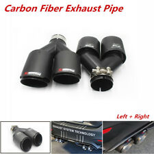 """2pcs ID:2.5""""63mm OD:3.5""""Real Carbon Fiber Black Exhaust Tip Dual Pipes End"""