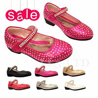 GIRLS KIDS VELCRO WEDDING BRIDESMAID DIAMANTE LOW HEEL PARTY SHOES SIZE 7-3