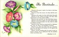 Vintage Postcard - The Beatitudes Matthew 5:3 - 12 Floral Print Un-Posted #3959