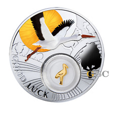 Niue Island 2014 1$ Storch Lucky Coins Glücksbringer Talisman Silbermünze