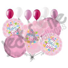 11 pc Its a Girl Foot Balloon Bouquet Decoration Baby Welcome Home Shower Pink