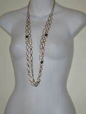 Banana Republic Gold Cabochon  Crystal Layering Necklace NWOT $35 B W Set of 2