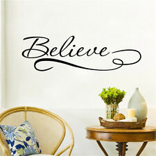 Believe Inspiring Quote Wall Sticker Bedroom Vinyl Wall Decal Home Room Decor