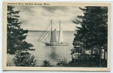 Schooner Through Trees Penobscot River Stockton Springs Maine postcard