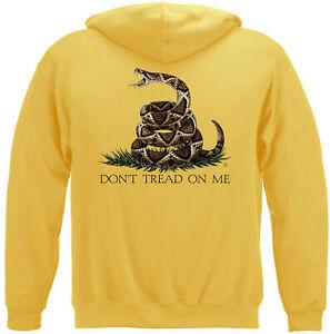 Don't Tread On Me Hooded Sweatshirt Gadsden 2A 2nd Amendment Yellow Hoodie S-5XL