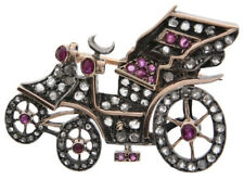 Victorian Look 925 Silver Brooch Pin 3.35cts Rose Cut Diamond Ruby Antique
