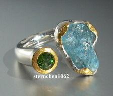 Einzelstück * Ring * 925 Silber * 24 ct Gold * Aquamarin * grüner Turmalin