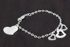 """Womens Solid 925 Sterling Silver Heart Love Charm Chain Bracelet Italy 7"""""""