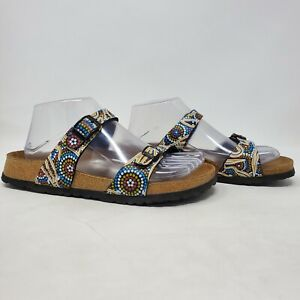 Birki's Birkenstock Aboriginal Design Sandal Slides Womens Size 38 7