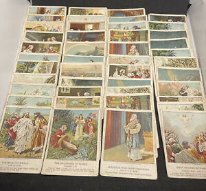 Lot of 44 ~1901 Little Bible Lesson Pictures Cards ~Harris, Jones & Co Prov F-VG