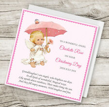 Personalised Handmade Angel Christening Baptism Card Daughter Granddaughter any