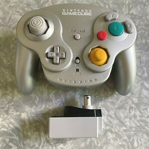 Nintendo Gamecube Wavebird Wireless Platinum Controller + Receiver Silver Tested