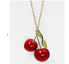 Kate Spade Ma Cherie Delicious Red Cherry Gold Plated Pendant Necklace