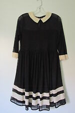 ASOS Maternity Black/Ivory 3/4 Sleeve Sheer Top Collared Knee-L Dress SIZE:6