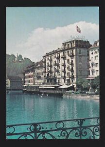 Switzerland Hotel Balances & Bellevue in Lucerne shows the waterfront postcard