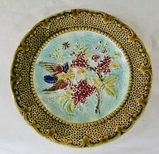 MAJOLICA PLATE  C.1880 BIRD ON A BERRY BRANCH & BUTTERFLY