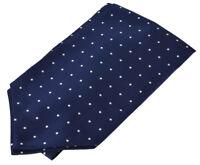 Men's Ascot Tie Sets - Wholesale Bulk Lots of Navy Blue White Woven Cravat Ties