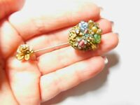 Un Signed Miriam Haskell Faux Pearl Rhinestone Glass Flower Stick Pin Vintage