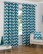Chevron Striped Eyelet/Ring Top Lined Curtain Pairs By Hamilton McBride-TO CLEAR