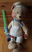 "Annalee Painting Bear 1983 hand painted face doll figurine 20"" long Painter"