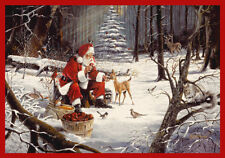 """4x6 Milliken Christmas Party Forest Feast Santa Area Rug - Approx 3'10""""x5'4"""""""