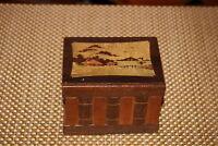 Antique Chinese Japanese Wood Trinket Storage Stash Box Village Scene