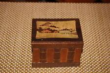 Antique Chinese Japanese Wood Trinket Storage Stash Box-Village Scene