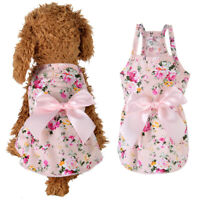 Summer Flower Print Cotton Cute Pet Dress  Dog Costume Outfit Clothes NEW