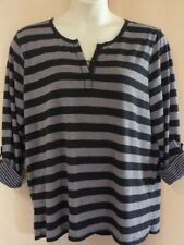 LADIES 3/4 SLEEVE BLACK & GREY SHIRT  SIZE 20