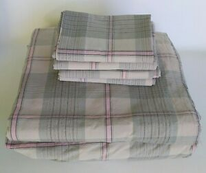 VERMONT COUNTRY STORE PLAID SHEET SET KING FLAT FITTED 4 STANDARD CASES