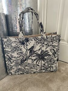 H&M Tote Large jacquard Woven Bag,Dior-esque, Animal/jungle Print Sold Out Style
