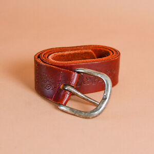 Brown Leather Jeans Belt Silver Buckle Vintage Unisex Men's XSmall Women's Small