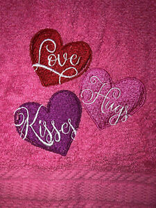 Embroidered  Pink  Bathroom Hand Towel  Love Hugs Kisses Valentine Hearts