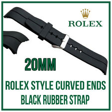 ♛ 20mm Curved Black Silicone Rubber Watch Strap High Quality For Rolex Sub GMT ♛
