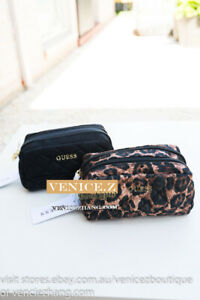 BNWT GUESS Small Beauty Case Make-up Bag Toiletry Cosmetic Black Leopard