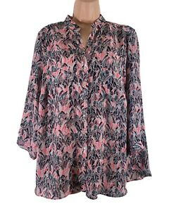 PER UNA Marks & Spencer feather print silky chiffon button blouse fits 14 16