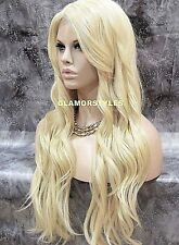 Human hair Blend Lace Front Full Wig Long Wavy Layered W Bangs Bleach Blonde NWT