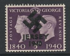 GB Jersey (281) 1940 Swastika Overprint forgey om genuine 3d Centenary u/m