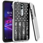 Silver Combat Case for Coolpad Legacy Brisa 2020 Phone Cover -GRAY CAMO 1/2 FLAG