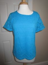SS SHIRT - COMPANY Ellen Tracy - Knit - Turquoise - Sz Large - NWT