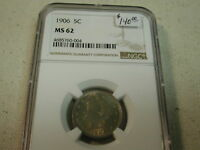 1906 5C Nickel MS62 NGC golden toning