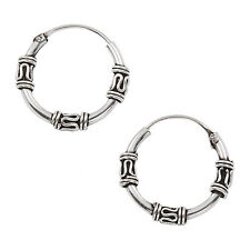 New Sterling Silver 12mm Tribal Bali Hoop Earrings EP261