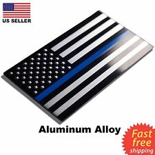 ALUMINUM Police Officer Emblem Thin Blue Line American Flag Decal Sticker USA