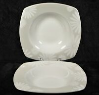 "222 Fifth Alice Platinum 8.75"" Square Rimmed Soup Bowl - White Floral - LOT of 2"