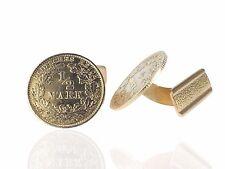 Art Deco Herren 835 Silber 1/2 Mark 1906 und 1915 Münze Manschettenknöpfe