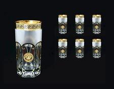 6 Wassergläser, Handarbeit, Bohemia Kristall, Handbemalt in Gold, NEU