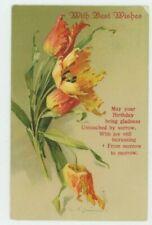 C. Klein, Flowers, Best Wishes Greetings Art Postcard, C042