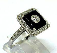 ART DECO Ring  ONYX  & Cz  925er  Silber  # 54