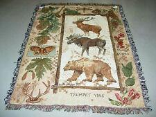 Lodge ~ Bear/Elk/Moose Tapestry Afghan Throw
